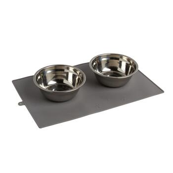 Pet Parade® 3-Piece Mat and Stainless Steel Bowls Set