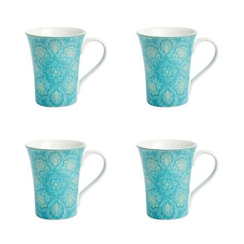 Teal Augustina Coffee Mugs, Set of 4
