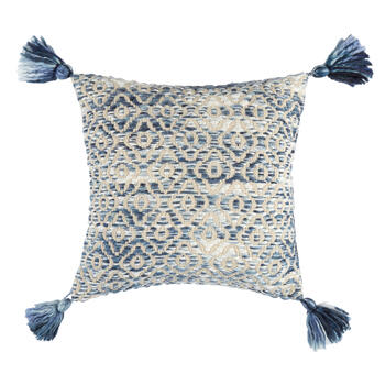 The Grainhouse™ Blue Diamond Tassel Square Throw Pillow view 1