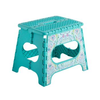 Teal Floral Folding Step Stool