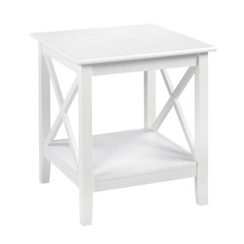 Milan White X-Sided End Table