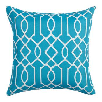 Aqua Lattice Indoor/Outdoor Square Throw Pillow