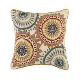 Orange Medallion Square Throw Pillow