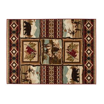 5'x7' Lodge Animal Grid Area Rug
