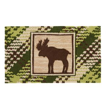 "18""x30"" Plaid Moose Hand-Hooked Area Rug"