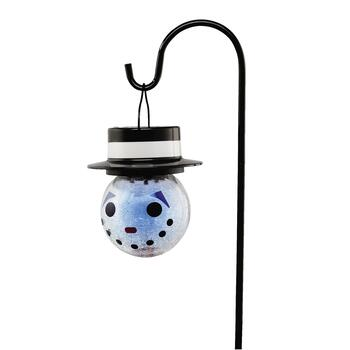 Crackled Glass Snowman Solar Light