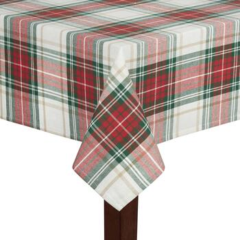 Red/Green Plaid Stripes Cotton Jacquard Tablecloth