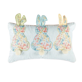 Floral Bunnies Checkered Oblong Pillow view 1
