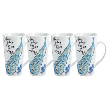 """Show Your True Colors"" Peacock Latte Mugs, Set of 4"