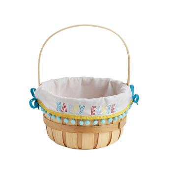 "Woodchip Basket with ""Happy Easter"" Pom-Pom Lining"