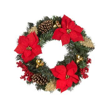"22"" Red Poinsettia Gold Ornament Wreath"