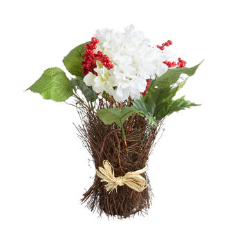 "17"" White Poinsettia and Red Berries Artificial Plant view 1"