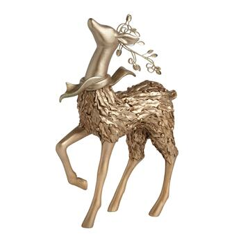 "12"" Gold Holly Standing Reindeer Decor"