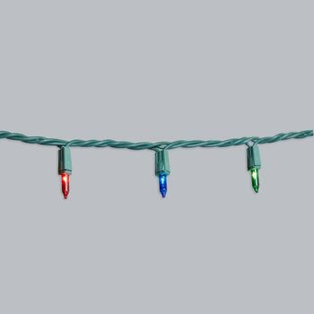 22' Green Wire Multicolor Indoor/Outdoor Mini String Lights, Set of 4