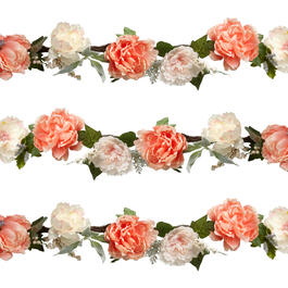 6' Peony Artificial Flower Garland view 1