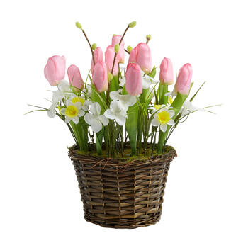 "16"" Tulip and Daisy Artificial Flower Basket view 1"