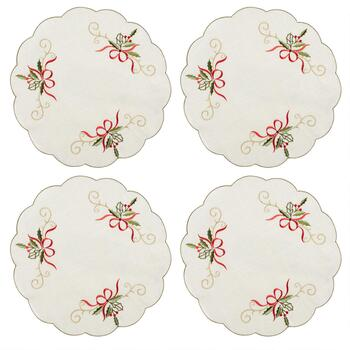 White Holly Cutwork Placemats, Set of 4