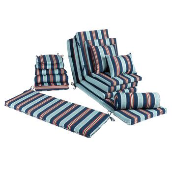 Blue/Red Stripe All-Weather Chair Cushions Collection