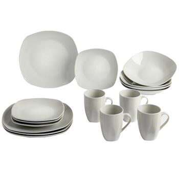 Bistro Basics Porcelain White Square Dinnerware Set, 16-Piece