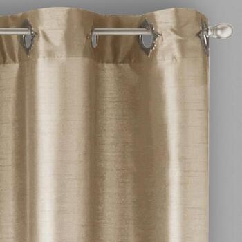 "84"" Fancy Faux Silk Lined Grommet Window Curtains, Set of 2"