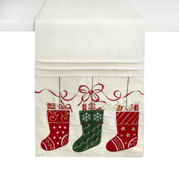 "72"" Red/Green Stockings Embellished Cotton Blend Table Runner"