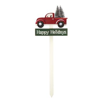 "36"" ""Happy Holidays"" Red Truck Wood Garden Stake"
