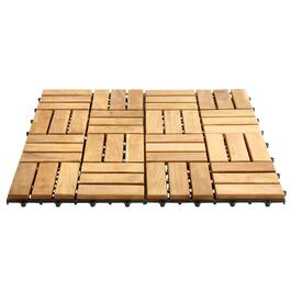 "12"" Square Teak Flooring Tiles, 10-Pack"