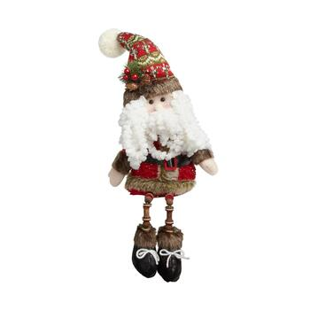 "16"" Curly Beard Santa Sitter with Dangling Wood Legs"