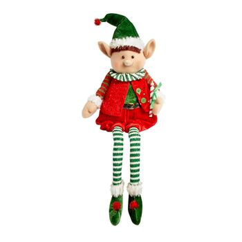 "15"" Sitting Christmas Elf Boy with Green Hat"