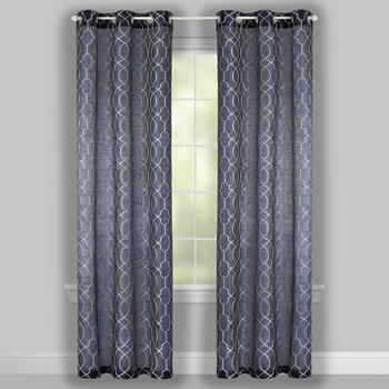 "84"" Faux Silk Geo Embroidered Grommet Top Window Curtains, Set of 2 view 2"