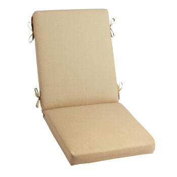 Solid Beige Indoor/Outdoor Hinged Chair Pad