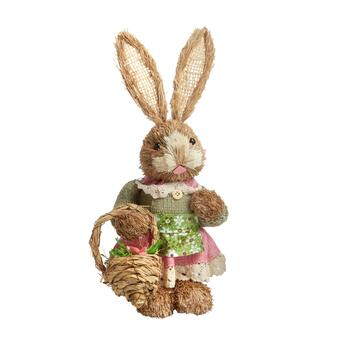 "14"" Bunny Girl with Basket Decor"