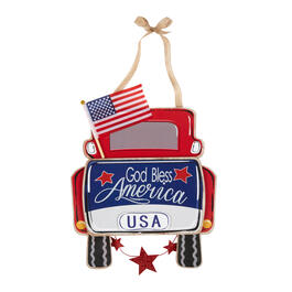 """God Bless America"" Red Pickup Truck Hanging Wall Decor view 1"