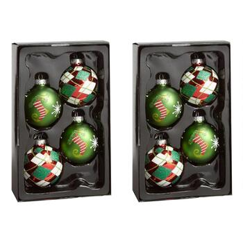 4-Count Stockings and Plaid Ornaments, Set of 2