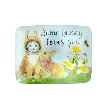 """Some Bunny Loves You"" Glass Tray view 2"