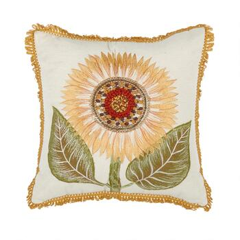 Beaded Sunflower Embellished Square Throw Pillow
