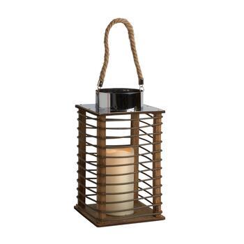 """12"""" Indoor/Outdoor Brown Lantern with Rope Handle ..."""