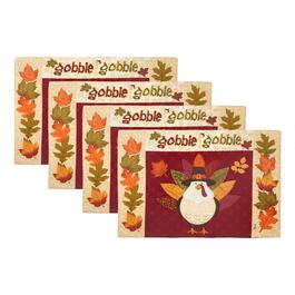 """Gobble Gobble"" Pumpkin Patch Fabric Placemats, Set of 4"