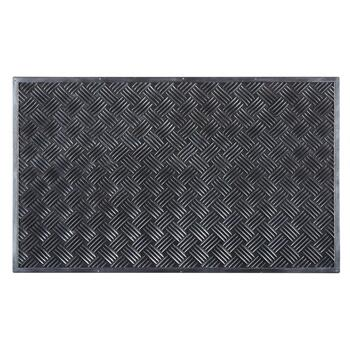 Black/Gray Woven Rubber Door Mat