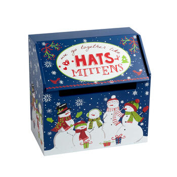 """Hats + Mittens"" Wood Winter Gear Storage Box view 1"