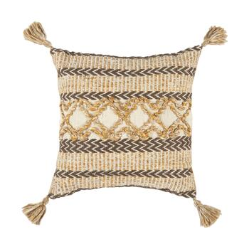 "The Grainhouse™ 20"" Linear Geo Tassel Square Throw Pillow"