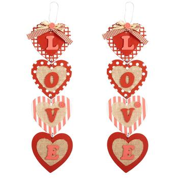 "7.25"" ""Love"" Falling Hearts Wall Hangers, Set of 2"