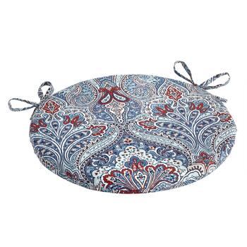 Paisley Blue Indoor/Outdoor Round Bistro Seat Pad