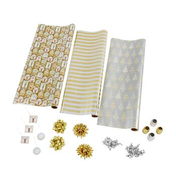 Gold Stripes and Trees Executive Wrapping Paper Kit
