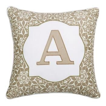 Floral Monogram Taupe Square Throw Pillow