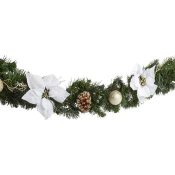 "72"" Gold Ornaments and White Poinsettias Garland"