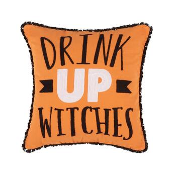 "Orange ""Drink Up Witches"" Halloween Throw Pillow"