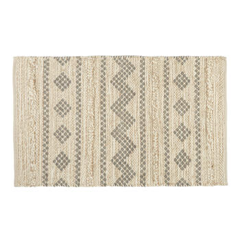 "27""x42"" Beige/Gray Mixed Stripe Wool Accent Rug view 1"