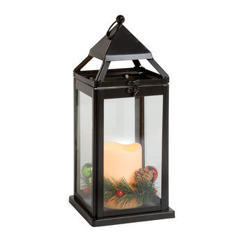 Christmas Greenery Flameless Candle Lantern view 1