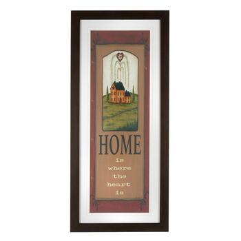 "19""x43"" ""Home Is Where the Heart Is"" Framed Wall Decor"